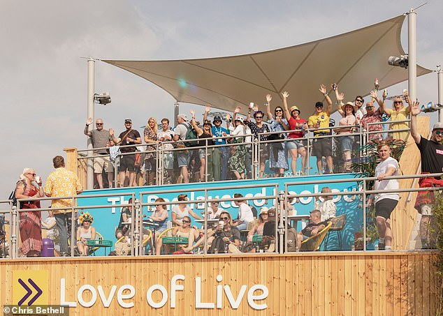 Woo! Crowds swarmed to watch Becky's electric performance, including guests at the Barclaycard Lookout who secured the best view of the main stage in the stands