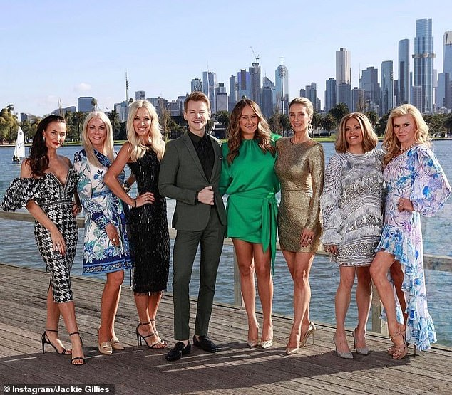 Back on screens: Jackie's pregnancy news came as it was announced she is returning to Real Housewives of Melbourne this year with Janet Roach and Gamble Breaux, and newcomers Anjali Rao, Cherry Dipietrantonio, Kyla Kirkpatrick and Simone Elliott. Pictured with presenter Joel Creasey
