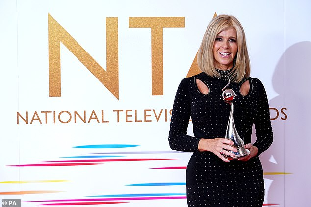 Beaming: The GMB star's heartfelt speech comes after she picked up the National Television Award for Authored Documentary at the O2 Arena in London for Finding Derek