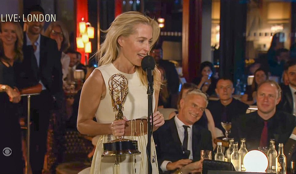 Drama winner:Gillian Anderson looked overjoyed when she was announced as the winner of Supporting Actress in a Drama Series for The Crown