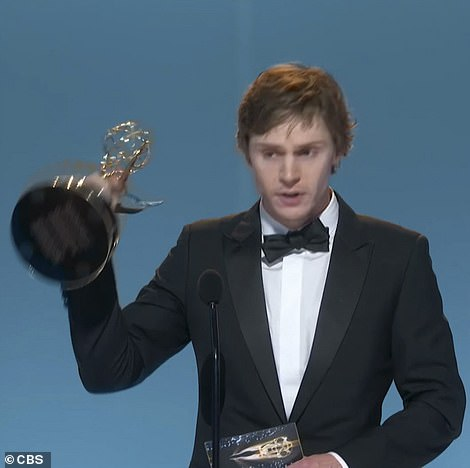 Back-to-back:Her costar Evan Peters also won for Best Supporting Actor in a Limited Series or Movie for the same show