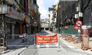 A barrier is pictured in a quarantine area amid the coronavirus disease in Hanoi, Vietnam.