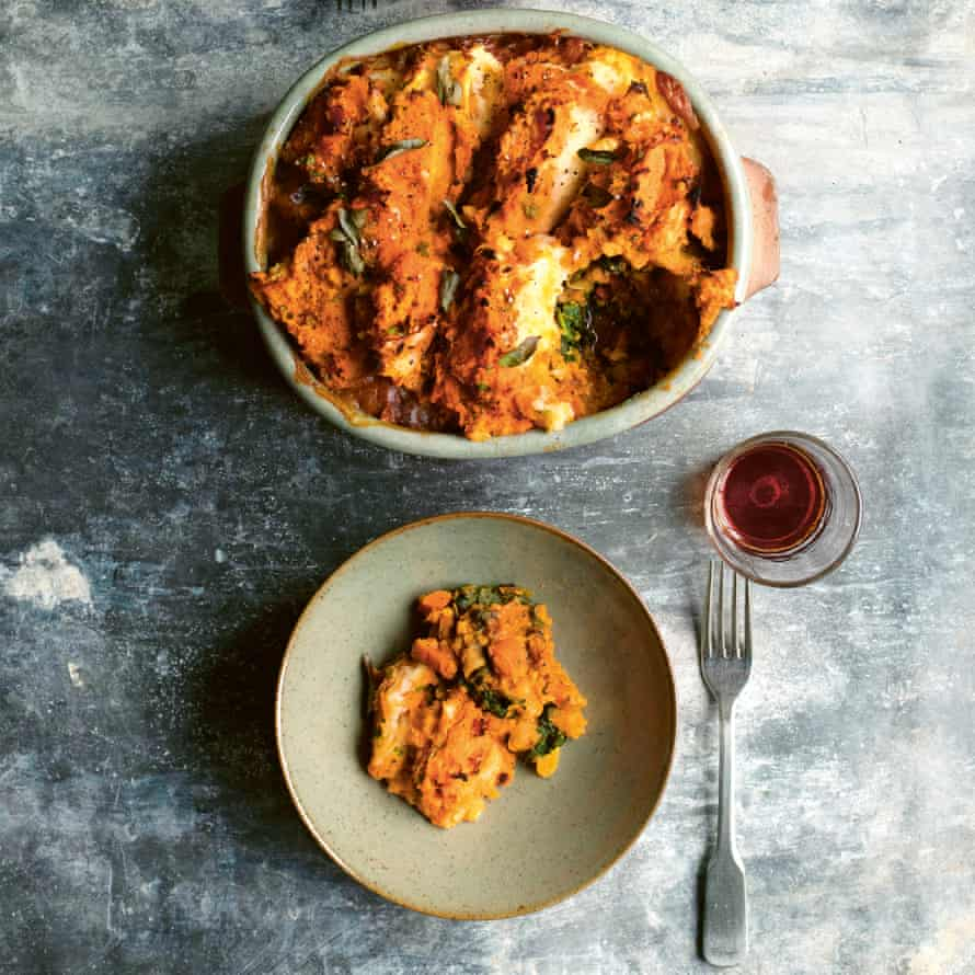 Sweet potato and lentil 'shepherd's' pie.