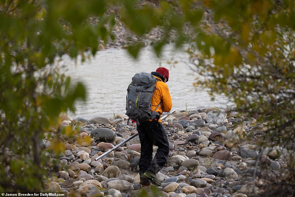 Members of the Teton County search and rescue team could be seen combing Spread Creek River and its tributaries for much of Saturday and Sunday in a bid to find Petito