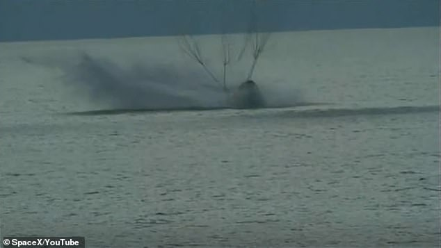 The Inspiration4 capsule carrying four civilian crew members makes a safe return to earth as it lands in the Atlantic Ocean on Saturday