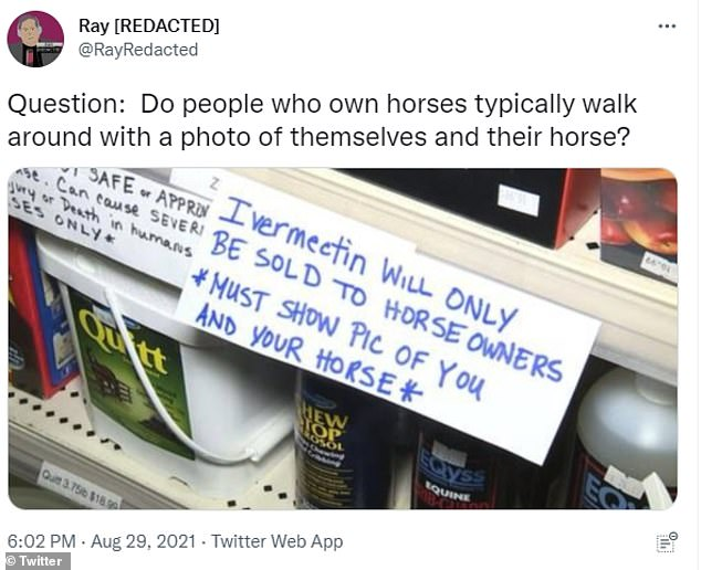 Pictured: A sign at V&V Tack & Feed requiring ivermectin purchasers to have a picture of their horse on hand