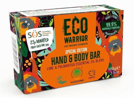 Eco Warrior SOS Bar Soap, ?4.50, littlesoapcompany.co.uk, 25p will be donated to the Sumatran Orangutan Society (SOS). Blended with pure lime and palmarosa essential oils, and made with sustainable palm oil, the hand and body bar is plastic free, vegan, biodegradable and made from 99.9% naturally derived ingredients. https://www.littlesoapcompany.co.uk/introducing-the-special-edition-sos-bar/