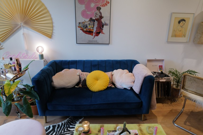 What I Rent: Georgia, £1,000 a month for a one-bedroom flat in Addlestone, Surrey - blue sofa in living room