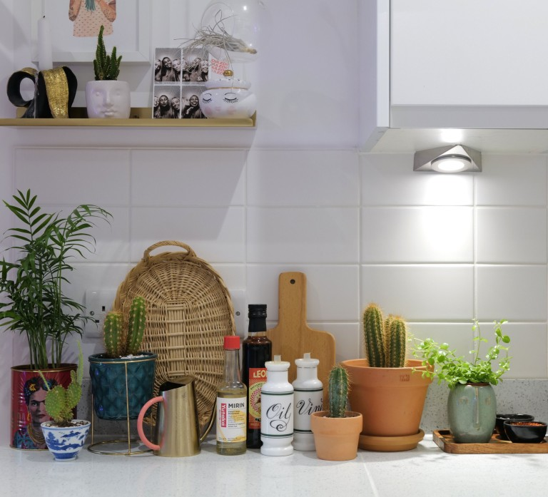 What I Rent: Georgia, £1,000 a month for a one-bedroom flat in Addlestone, Surrey - items on kitchen counter