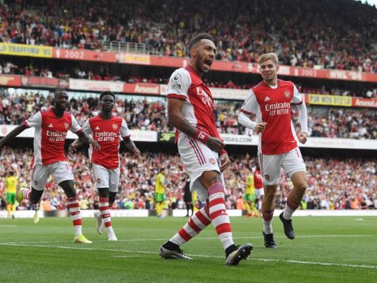 Pierre-Emerick Aubameyang's only Premier League goal this season came against Norwich