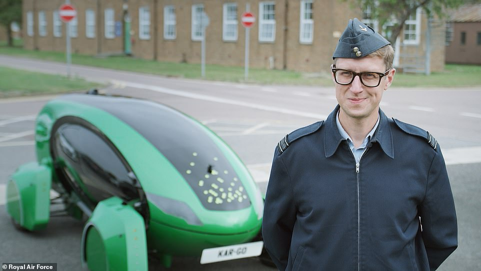 Kar-Go is pictured here with Squadron Leader Tony Seston, RAF Engineer and Astra ambassador, at theRoyal Air Force base of Brize Norton in Oxfordshire