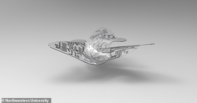An artistic rendering of a 3D microflier.Versions of the tiny devices have been fitted with air pollution sensors, tools to study solar radiation at different wavelengths, and a PH sensor to monitor water quality