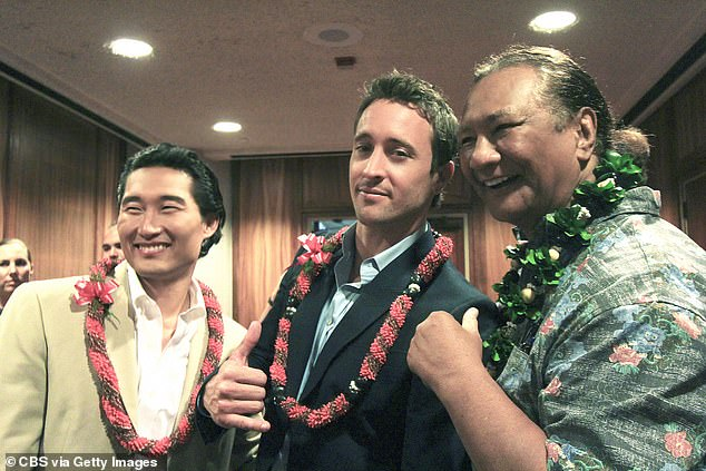 Back at it:Harrington - born Tausau Ta'a - also popped up on the remake that starred Alex O'Loughlin (center) and Daniel Dae Kim (left), which aired from 2010 until 2020; Al is seen far right