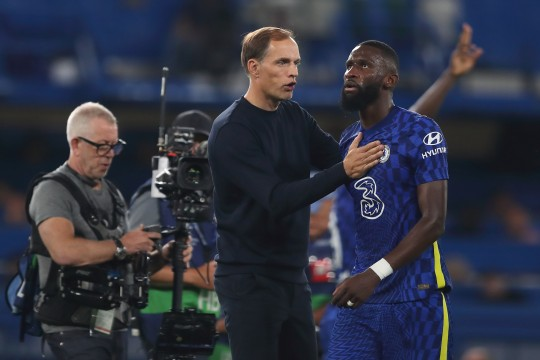 Thomas Tuchel chats with Antonio Rudiger after Chelsea's Champions League clash with Zenit