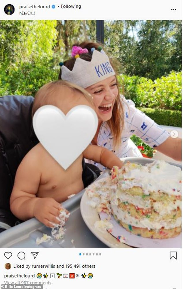 Sweet tooth:Another post featured a playful snap of Kingston digging into the cake with his hands as his mother was overcome with laughter
