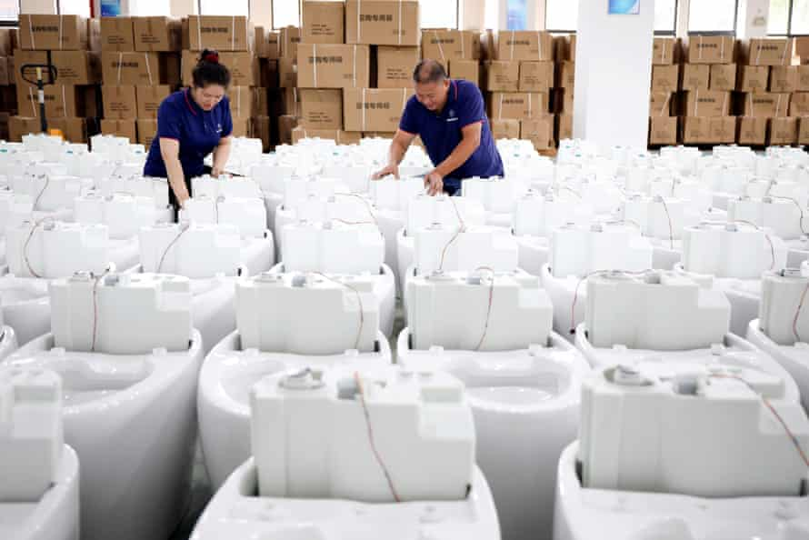 Smart toilets being assembled at a factory in Tonglu county, China