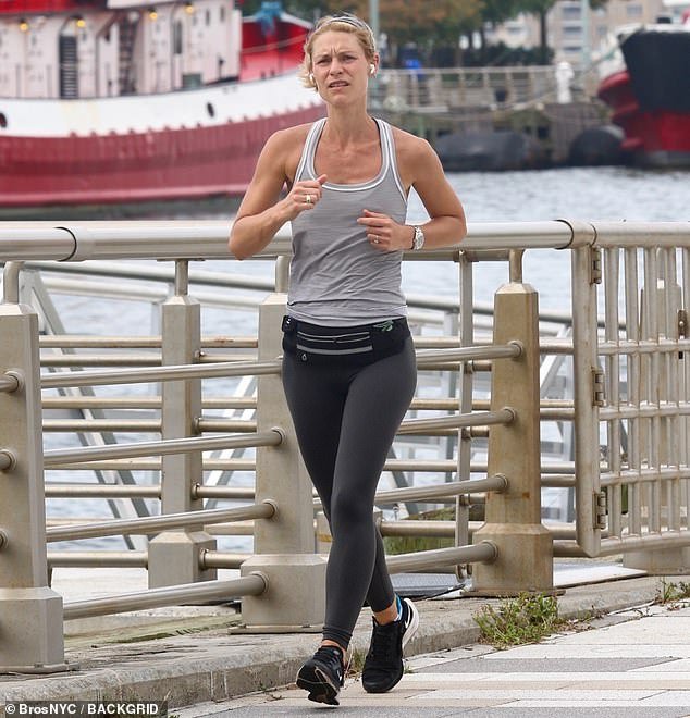 Maintaining her slim physique: The actress may be jogging to continue looking good for her public appearances