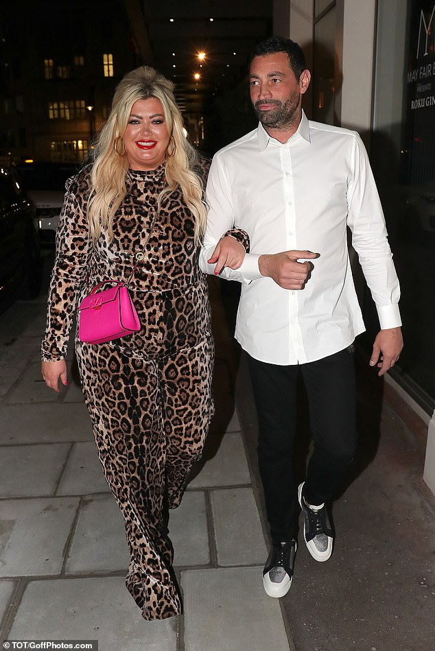 Commanding attention: Gemma turned heads as she stepped out for the romantic date night with her beau Rami Hawash in a leopard print jumpsuit