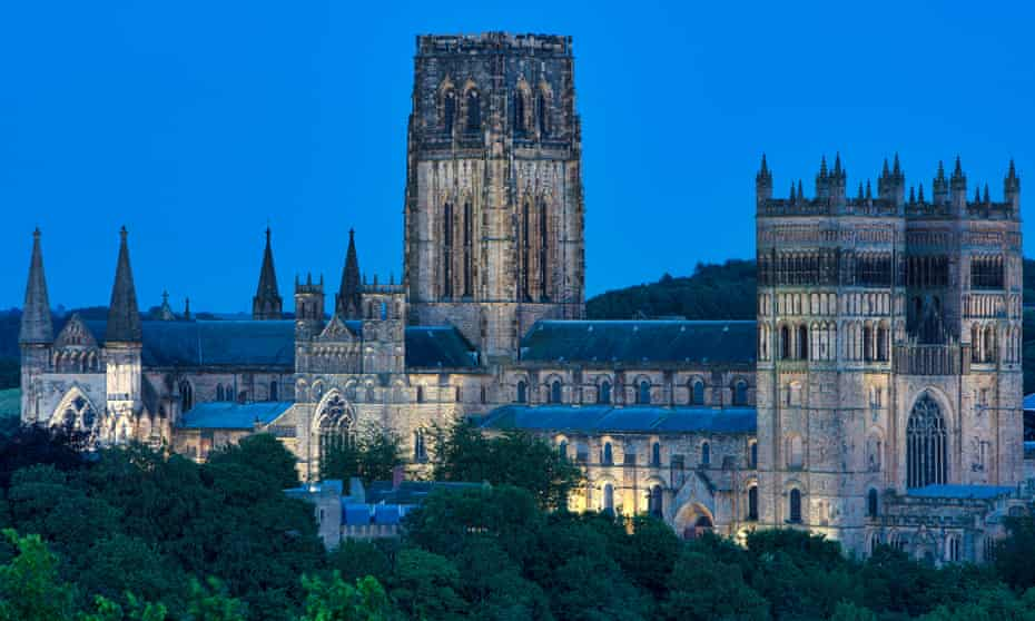 Durham Cathedral at night.