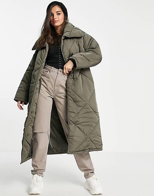 Maxi coat in khaki