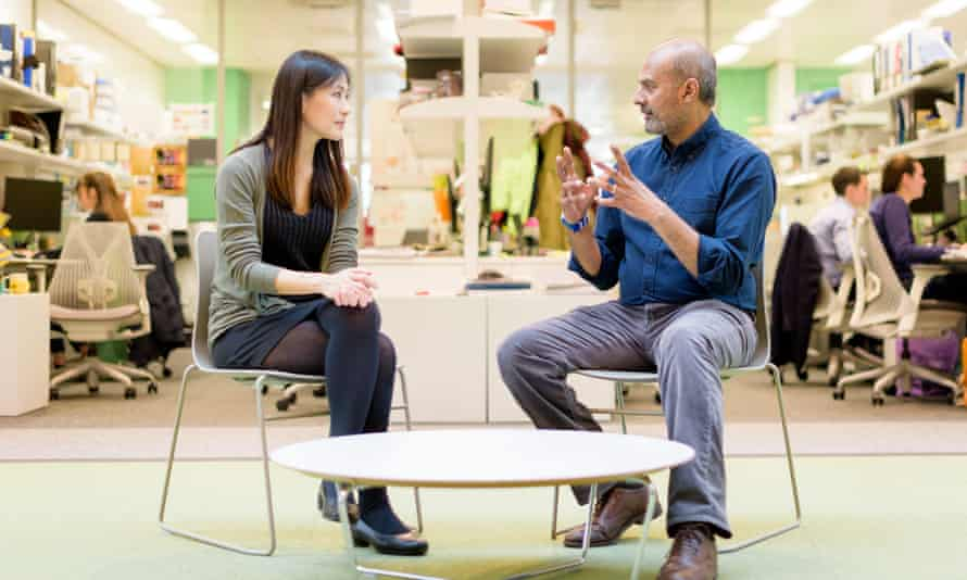 Vivian Li and George Alagiah in conversation.