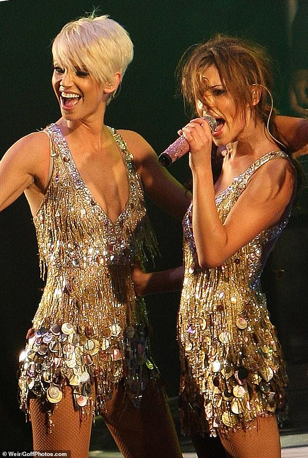 Grieving: Cheryl was set to return to the stage this Saturday, just three weeks after her Girls Aloud bandmate passed away (Pictured together in 2008)