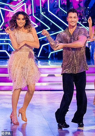 Giving it a go: The new dancing couple took their first steps out onto the ballroom during the launch show