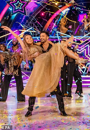In her element: Rose looked effortlessly glamorous as she was lifted by her dancing partner