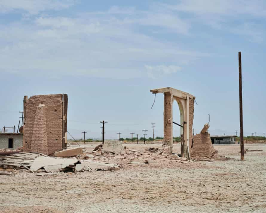 The remains of structures at what was once a private club along the Salton Sea.