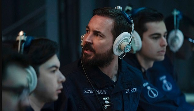 The six-part series follows the mysterious disappearance of a Scottish fishing trawler and a death on-board the submarine HMS Vigil - bringing the police into conflict with the Navy and British security service. Pictured:Martin Compston in the show