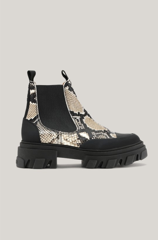 Low snake print Chelsea boots
