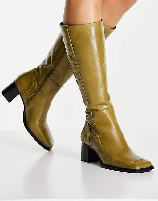 ASOS Design sage green leather knee high boots