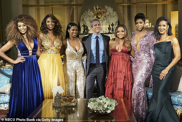 TV star:Cynthia joined the hit Bravo series in season three in 2010 as Nene Leakes' friend, with her last being season 13;Pictured: (l-r) Cynthia Bailey, Kenya Moore, Kandi Burruss, Andy Cohen, Phaedra Parks, Porsha Williams, Sheree Whitfield