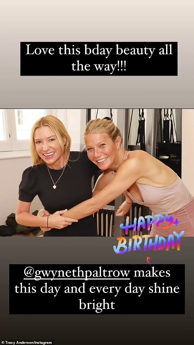 'Love this bday beauty all the way!' And Paltrow's personal fitness trainer Tracy Anderson wrote that she 'makes this day and every day shine bright'