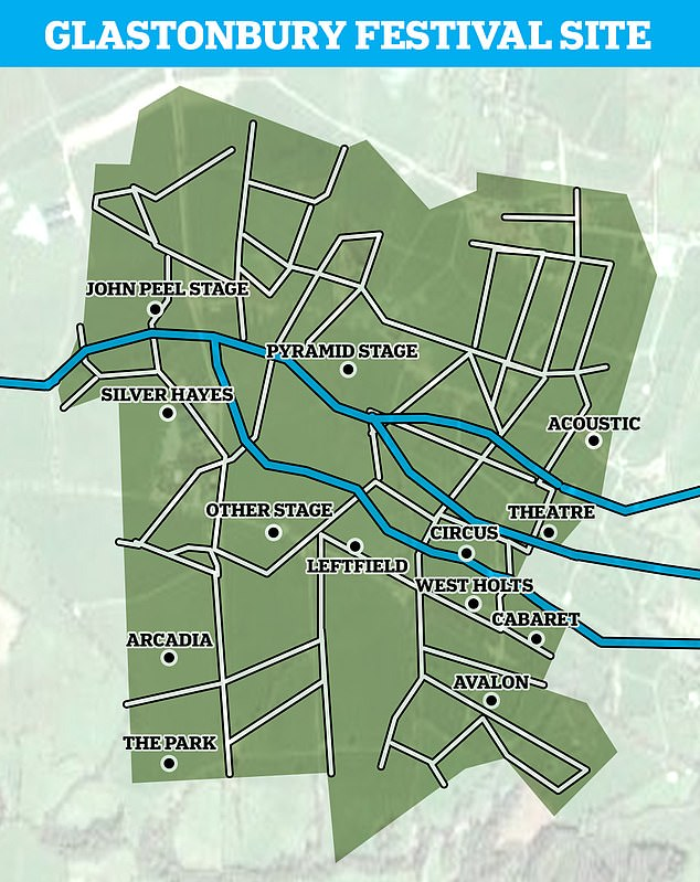 Samples were taken from the Whitelake River, which cuts through theGlastonbury Festival site