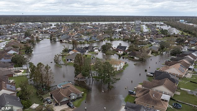 Flooded streets and homes are shown in the Spring Meadow subdivision in LaPlace, Louisiana, after Hurricane Ida moved through. Picture taken onAugust 30