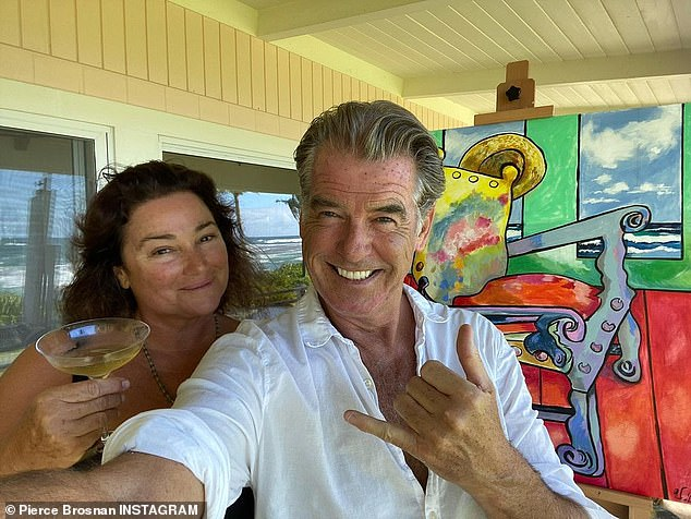 He is a fan:And the Thomas Crown Affair star added a gushing love note for his better half, calling her 'beautiful' and 'luscious'; a photo shared to Instagram earlier this year