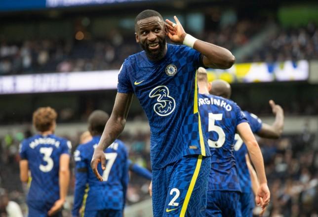 Antonio Rudiger celebrates scoring for Chelsea against Tottenham in the Premier League