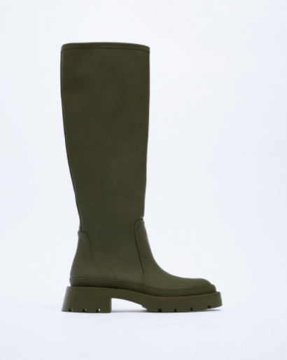 Khaki rubberised boots