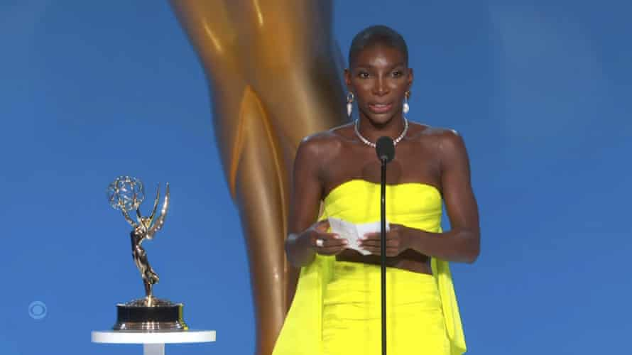 Michaela Coel accepts an Emmy Award for outstanding writing for a limited or anthology series or movie for I May Destroy You.