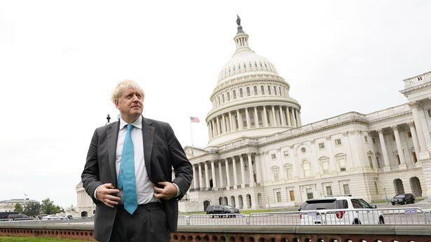 Boris Johnson outside the Capitol building in Washington DC