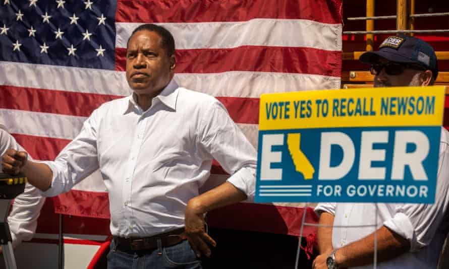 Larry Elder, a rightwing radio host, is the frontrunner in the gubernatorial recall election to replace Gavin Newsom.