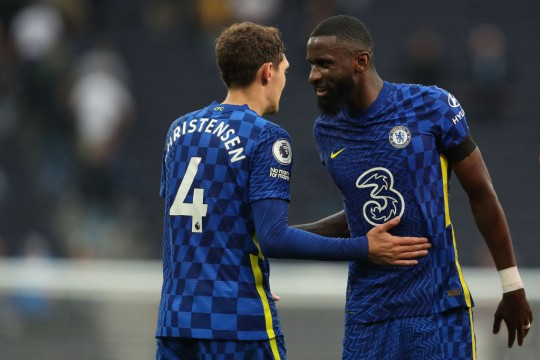 Andreas Christensen and Antonio Rudiger look on during Chelsea's Premier League clash with Tottenham