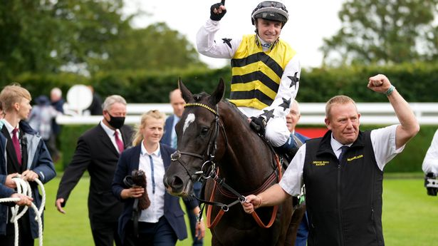 Commanche Falls ridden by jockey Connor Beasley after winning the 2021 Unibet Stewards' Cup at Goodwood