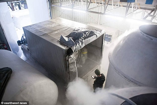Staff of a company set up by Valeria Udalova, 59, grabbed the remains of people - including from Britain and the US - who paid thousands of pounds hoping to be brought back to life when science advances to allow this (pictured: the tanks being refilled with nitrogen)