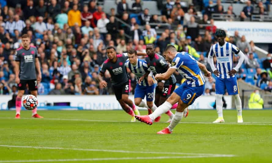 Neal Maupay scores Brighton's first goal from the penalty spot.