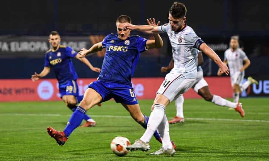 Declan Rice scores West Ham's second goal after charging through Dinamo Zagreb's faltering defence