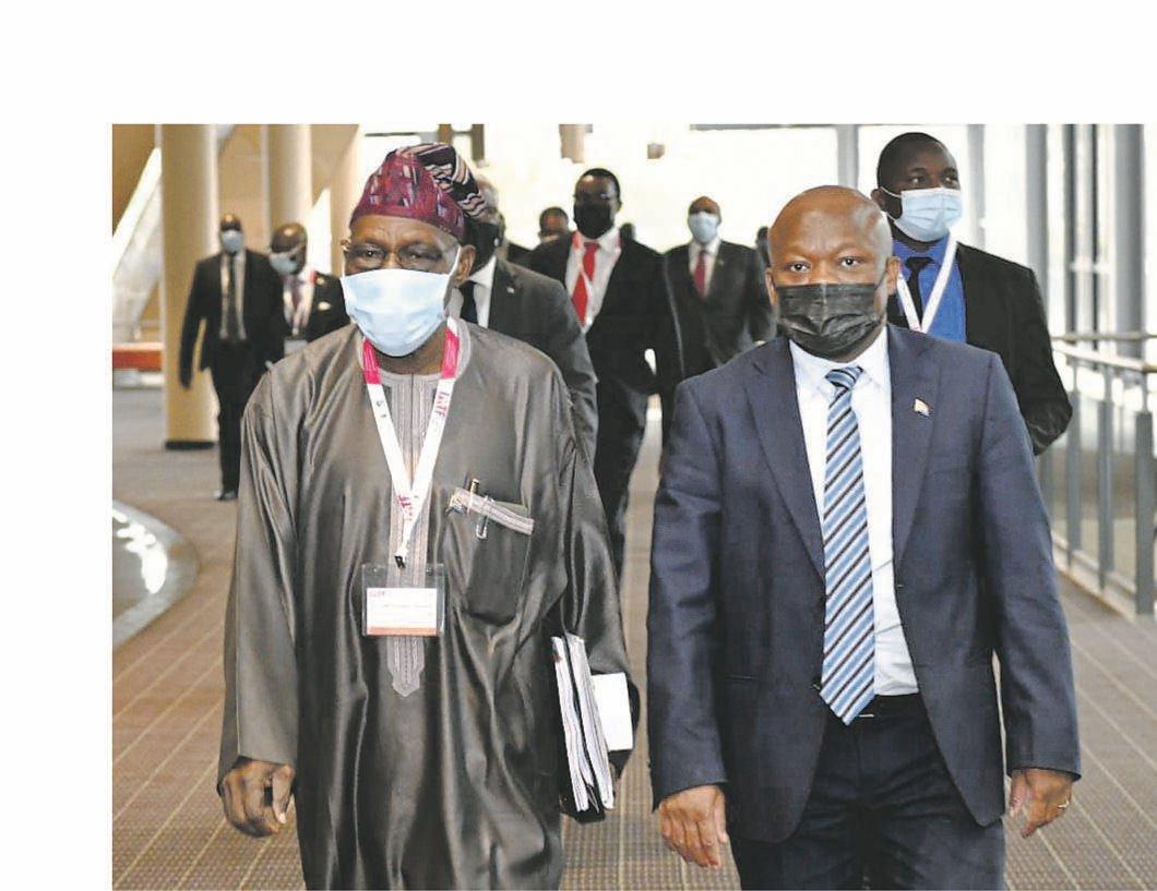KZN Premier Sihle Zikalala (right) welcomes Nigeria's former president Olusegun Obasanjo to the ICC in Durban on Thursday.
