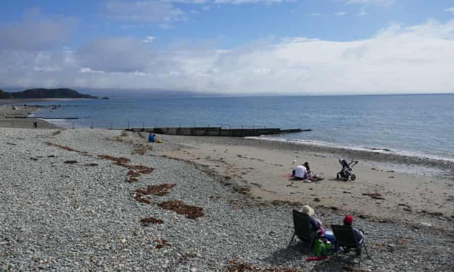 Criccieth's sand and shingle beach.