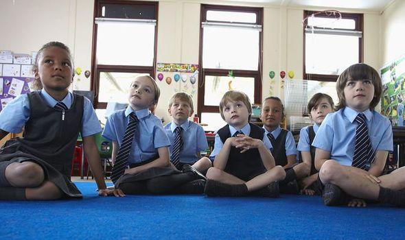 School children sat on floor of classroom